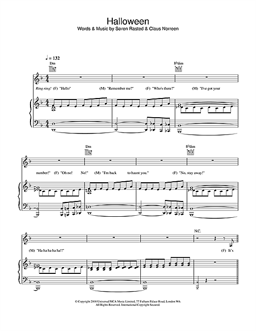 Aqua Halloween sheet music notes and chords
