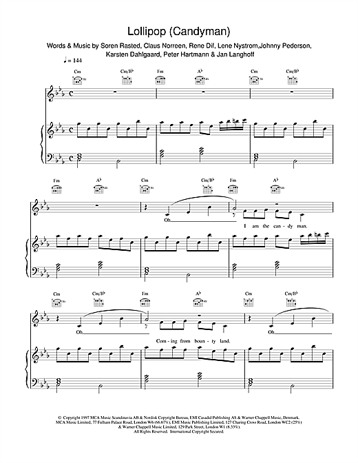 Aqua Lollipop (Candyman) sheet music notes and chords