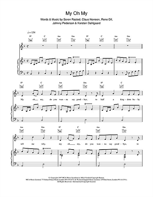 Aqua My Oh My sheet music notes and chords