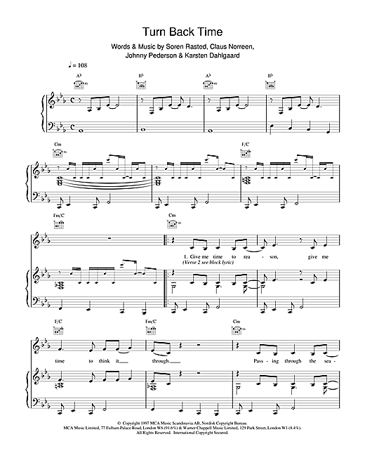 Aqua Turn Back Time sheet music notes and chords. Download Printable PDF.