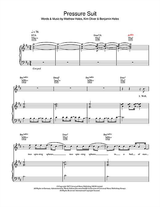 Aqualung Pressure Suit sheet music notes and chords. Download Printable PDF.