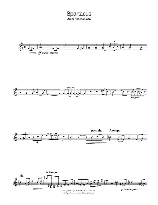 Aram Khachaturian Spartacus (Love Theme) sheet music notes and chords