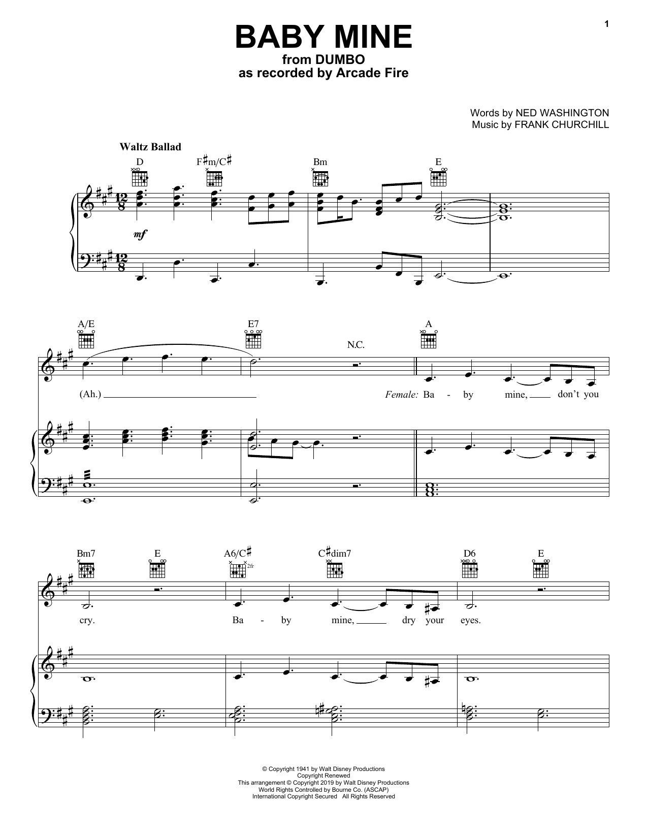 Arcade Fire Baby Mine (from the Motion Picture Dumbo) sheet music notes and chords. Download Printable PDF.