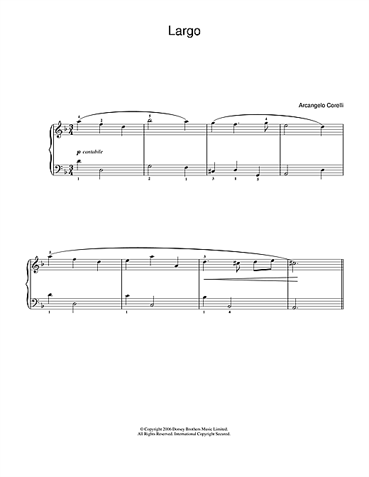 Arcangelo Corelli Largo sheet music notes and chords. Download Printable PDF.