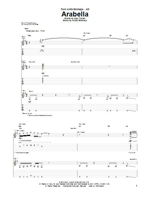 Arctic Monkeys Arabella sheet music notes and chords. Download Printable PDF.