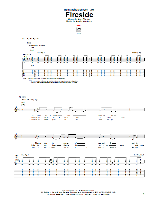 Arctic Monkeys Fireside sheet music notes and chords. Download Printable PDF.