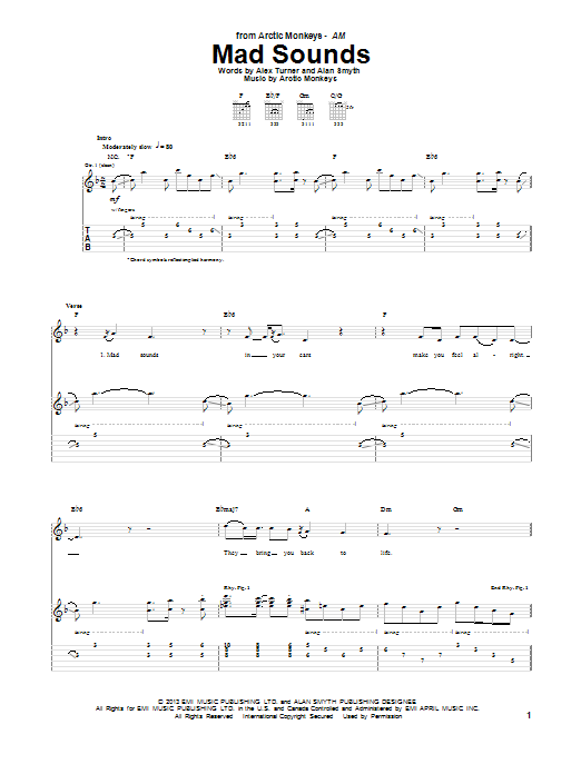 Arctic Monkeys Mad Sounds sheet music notes and chords. Download Printable PDF.