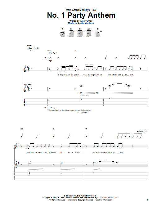 Arctic Monkeys No. 1 Party Anthem sheet music notes and chords