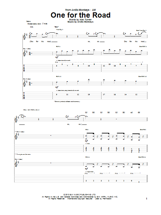 Arctic Monkeys One For The Road sheet music notes and chords. Download Printable PDF.
