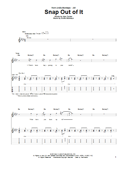 Arctic Monkeys Snap Out Of It sheet music notes and chords. Download Printable PDF.