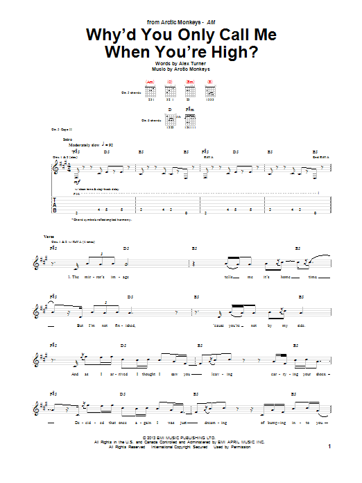 Arctic Monkeys Why'd You Only Call Me When You're High? sheet music notes and chords. Download Printable PDF.
