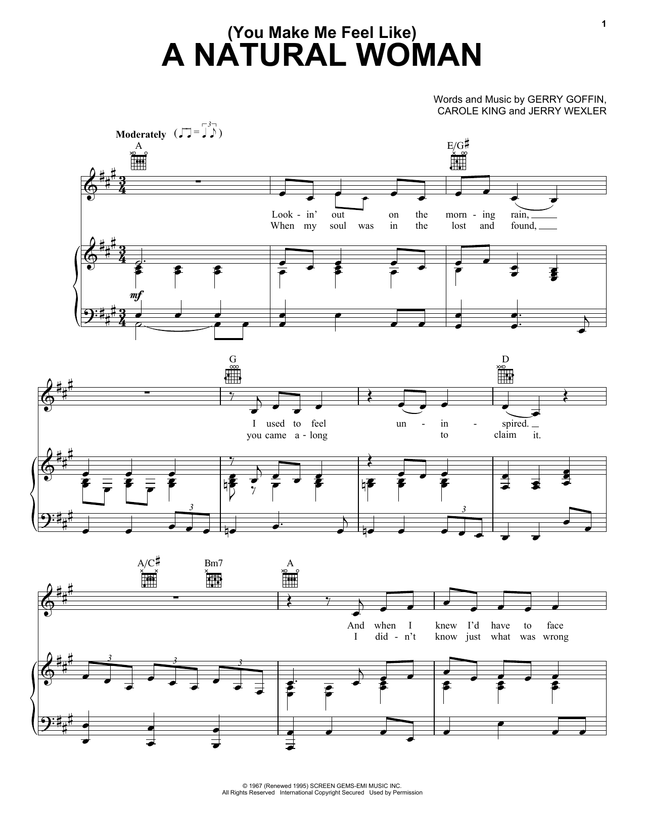 Aretha Franklin (You Make Me Feel Like) A Natural Woman sheet music notes and chords