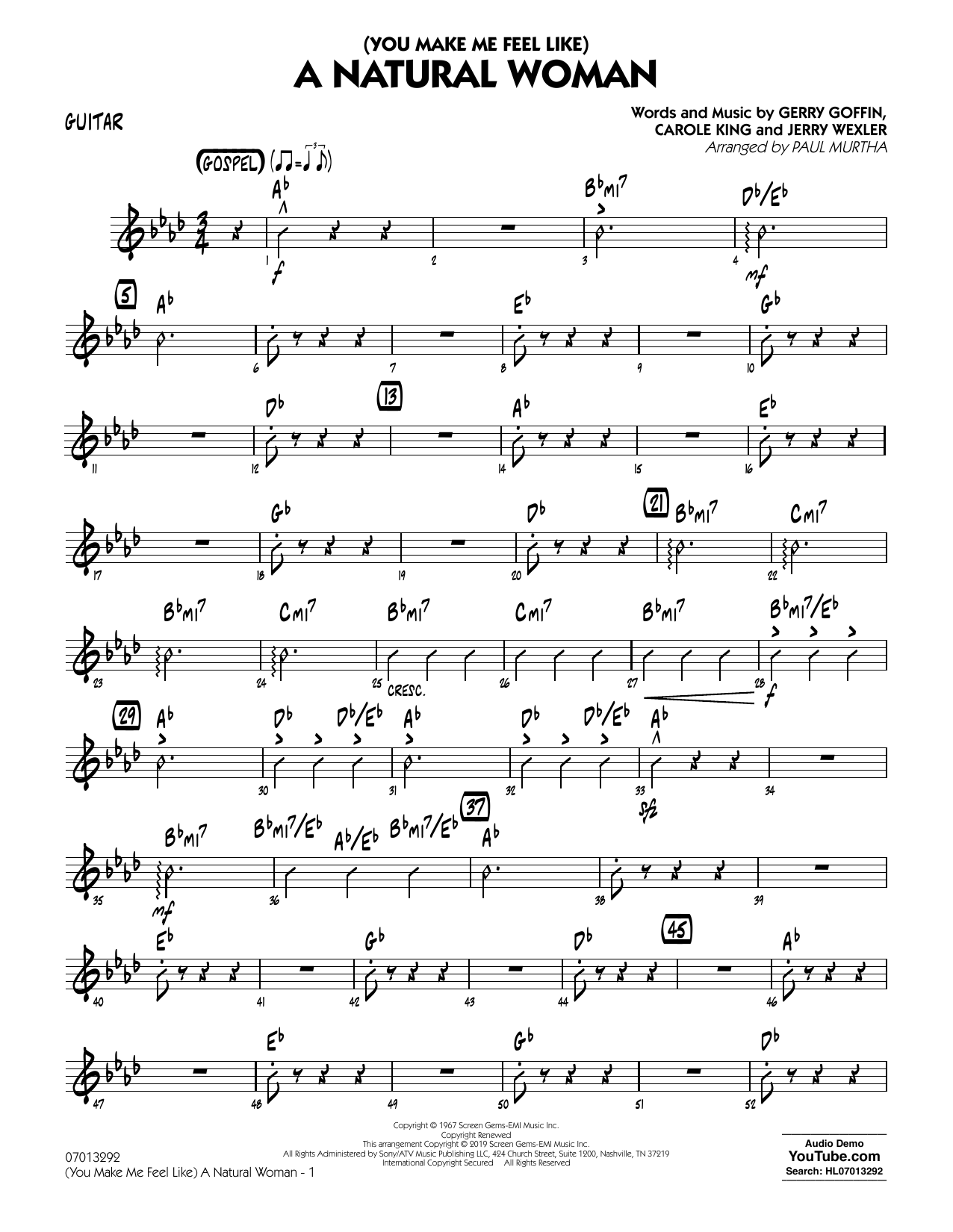 Aretha Franklin (You Make Me Feel Like) A Natural Woman (arr. Paul Murtha) - Guitar sheet music notes and chords. Download Printable PDF.