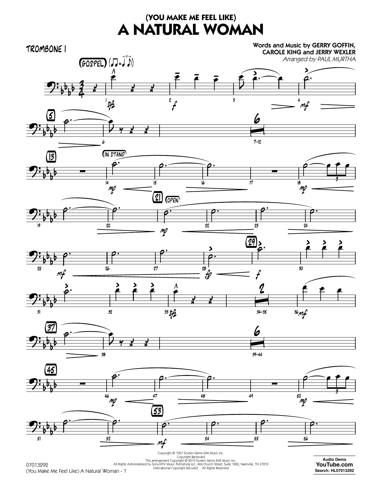 Aretha Franklin (You Make Me Feel Like) A Natural Woman (arr. Paul Murtha) - Trombone 1 sheet music notes and chords. Download Printable PDF.