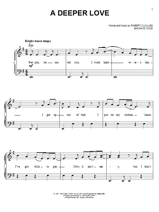 Aretha Franklin A Deeper Love sheet music notes and chords. Download Printable PDF.