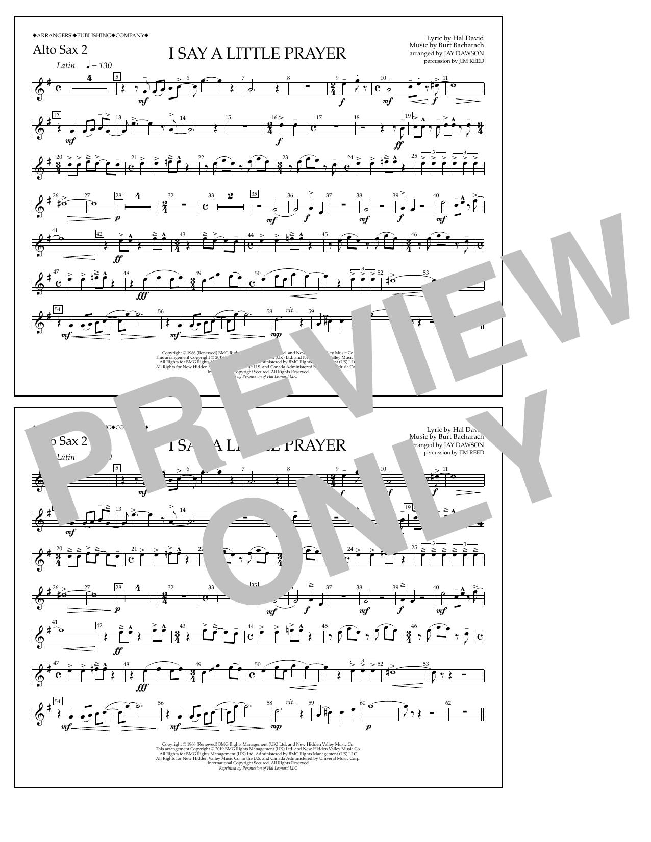 Aretha Franklin I Say a Little Prayer (arr. Jay Dawson) - Alto Sax 2 sheet music notes and chords. Download Printable PDF.