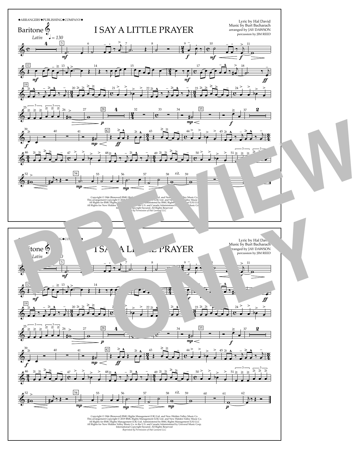 Aretha Franklin I Say a Little Prayer (arr. Jay Dawson) - Baritone T.C. sheet music notes and chords