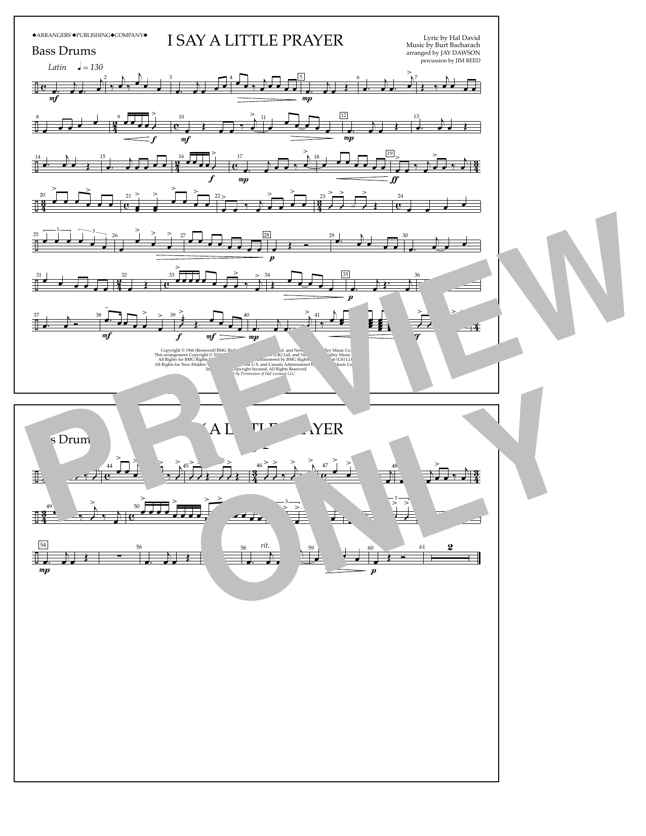 Aretha Franklin I Say a Little Prayer (arr. Jay Dawson) - Bass Drums sheet music notes and chords. Download Printable PDF.