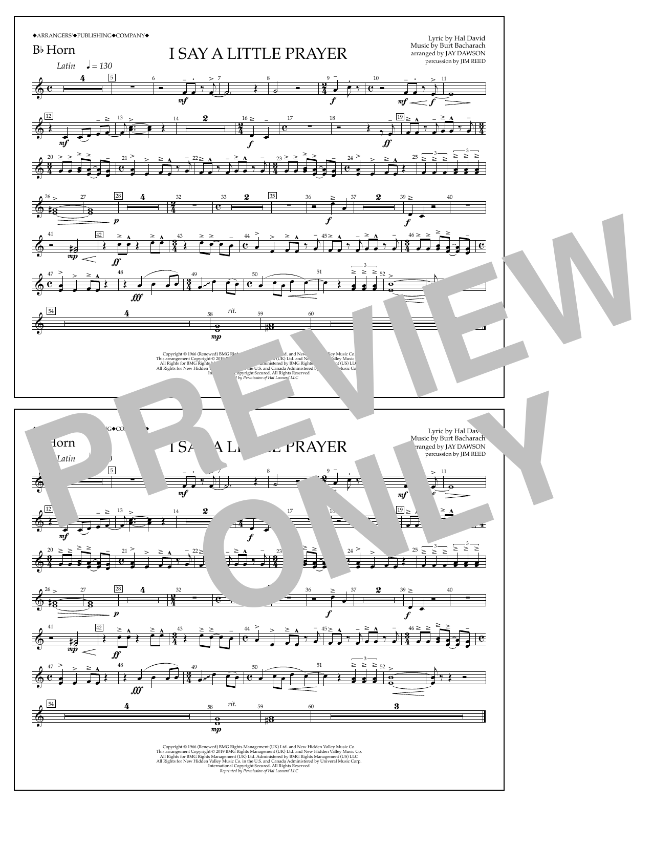 Aretha Franklin I Say a Little Prayer (arr. Jay Dawson) - Bb Horn sheet music notes and chords