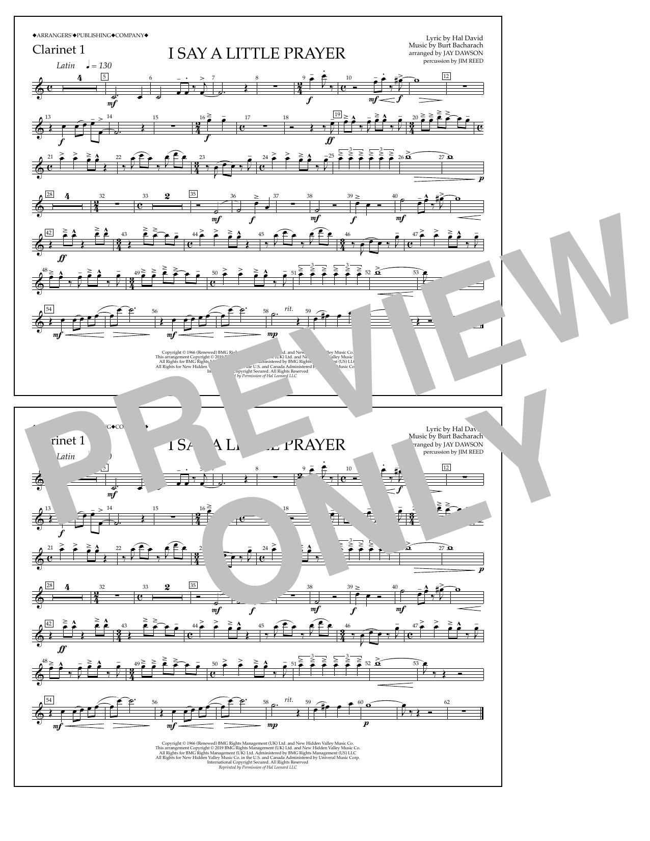 Aretha Franklin I Say a Little Prayer (arr. Jay Dawson) - Clarinet 1 sheet music notes and chords