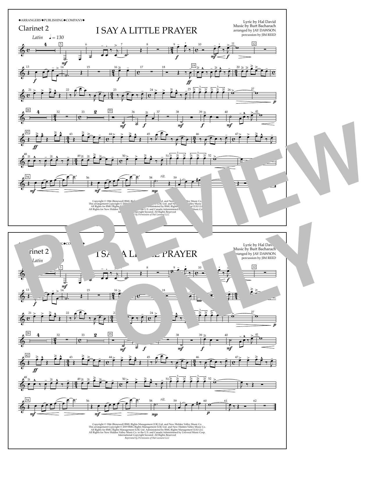 Aretha Franklin I Say a Little Prayer (arr. Jay Dawson) - Clarinet 2 sheet music notes and chords