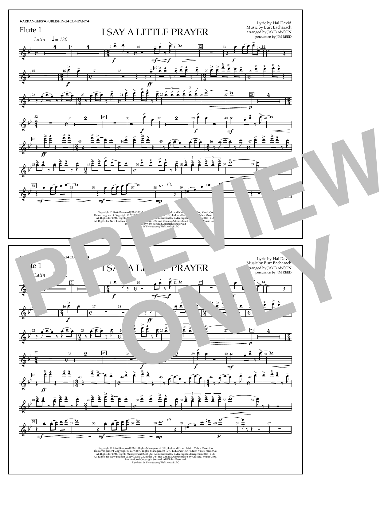 Aretha Franklin I Say a Little Prayer (arr. Jay Dawson) - Flute 1 sheet music notes and chords