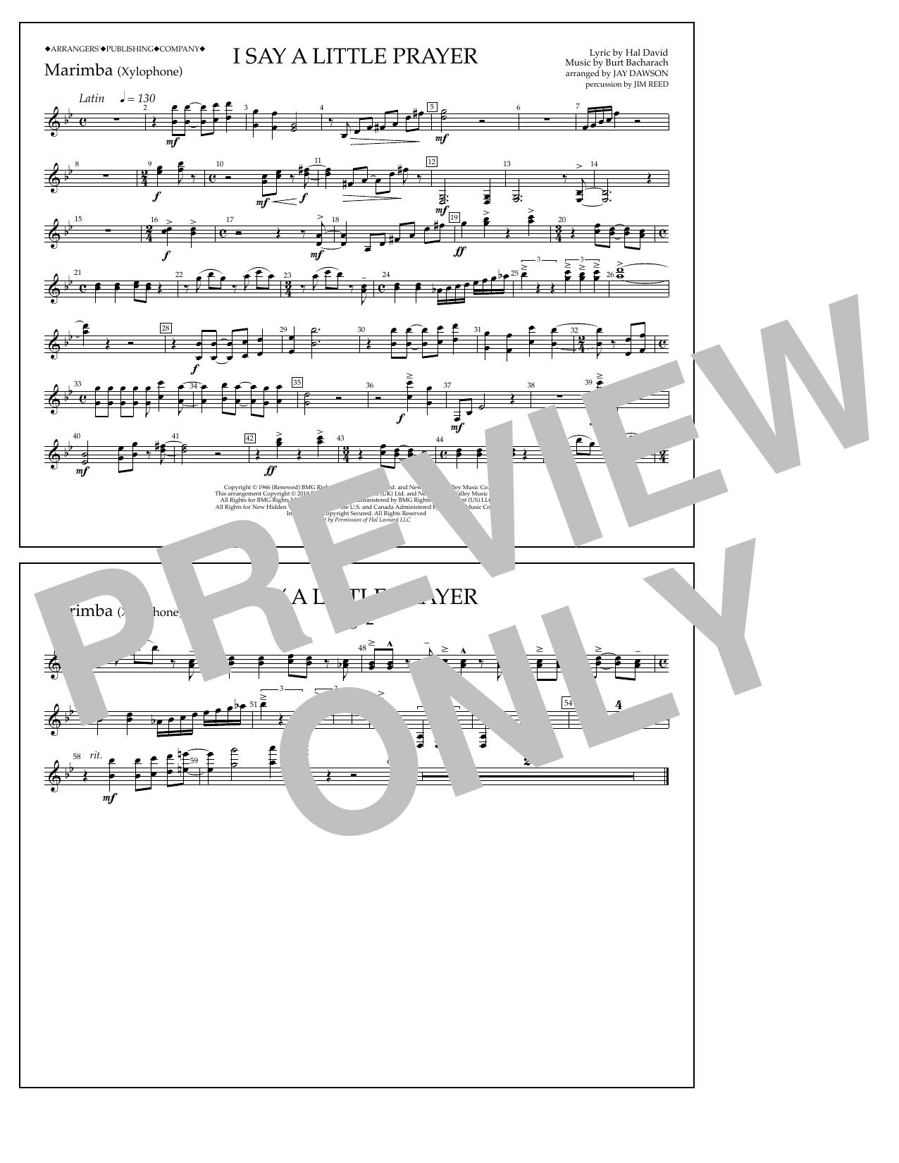 Aretha Franklin I Say a Little Prayer (arr. Jay Dawson) - Marimba sheet music notes and chords