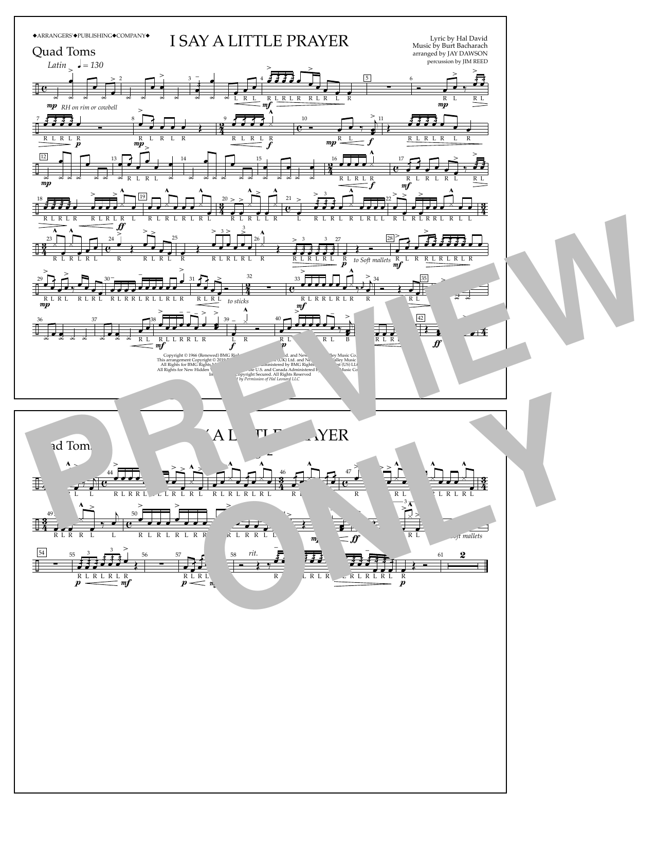 Aretha Franklin I Say a Little Prayer (arr. Jay Dawson) - Quad Toms sheet music notes and chords