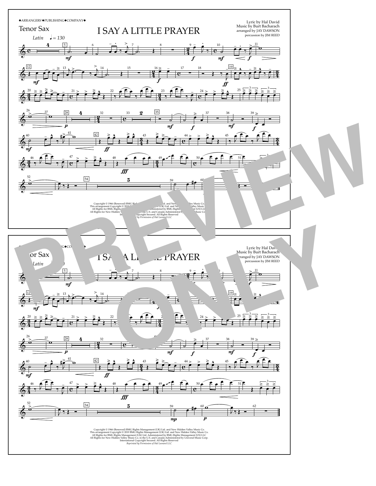 Aretha Franklin I Say a Little Prayer (arr. Jay Dawson) - Tenor Sax sheet music notes and chords
