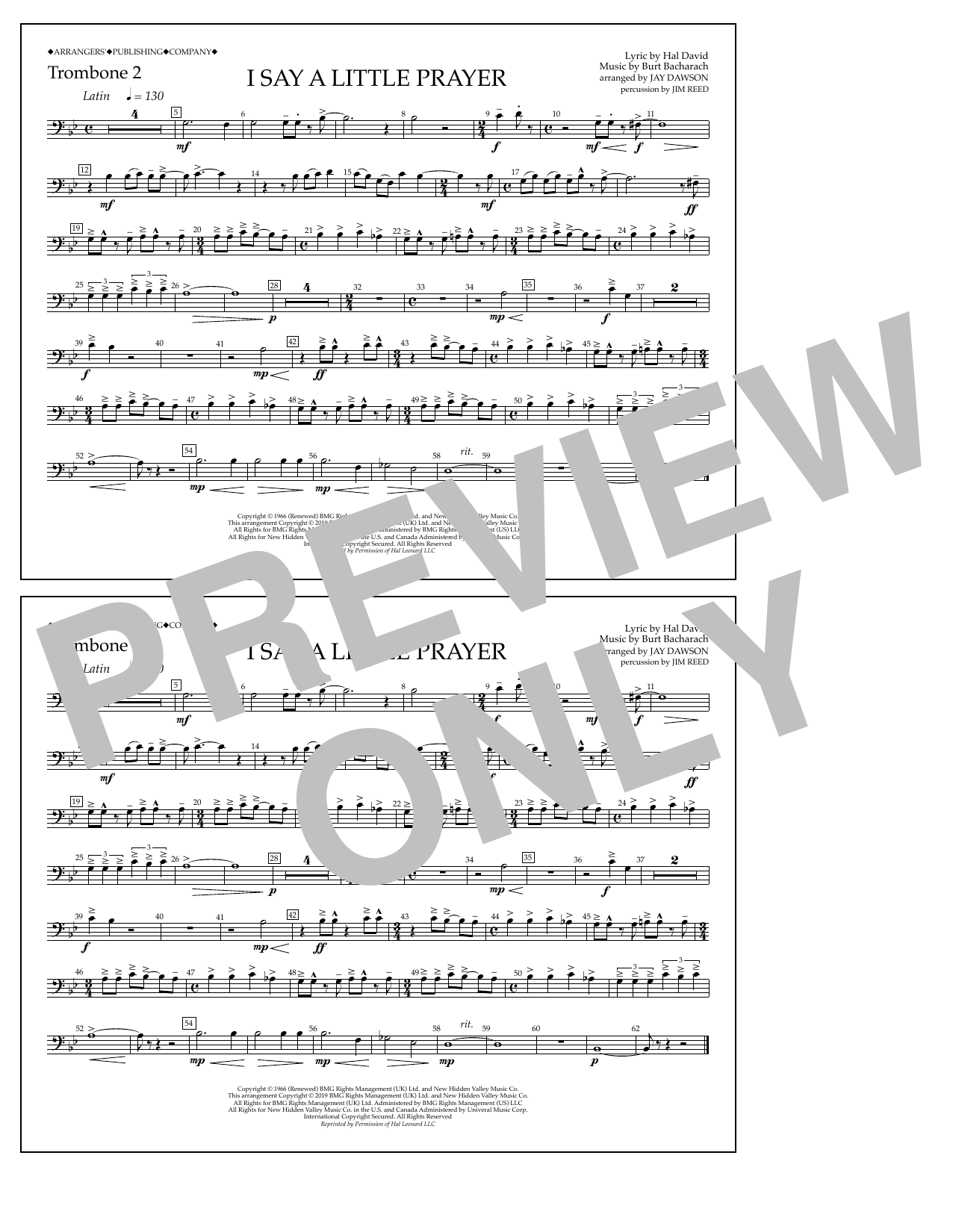Aretha Franklin I Say a Little Prayer (arr. Jay Dawson) - Trombone 2 sheet music notes and chords