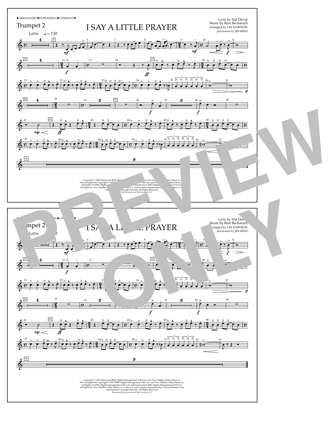 Aretha Franklin I Say a Little Prayer (arr. Jay Dawson) - Trumpet 2 sheet music notes and chords. Download Printable PDF.