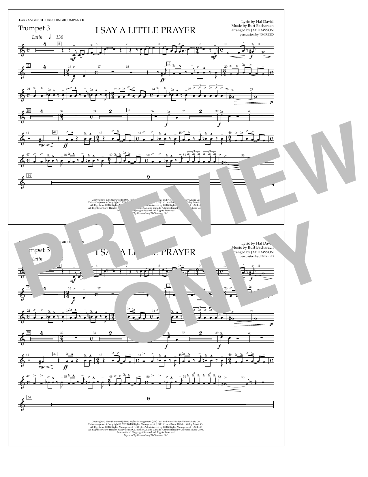 Aretha Franklin I Say a Little Prayer (arr. Jay Dawson) - Trumpet 3 sheet music notes and chords. Download Printable PDF.