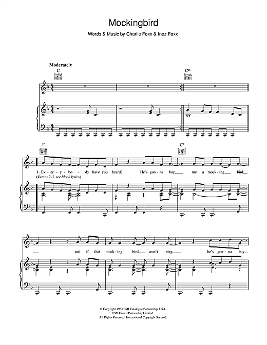 Aretha Franklin Mockingbird sheet music notes and chords. Download Printable PDF.