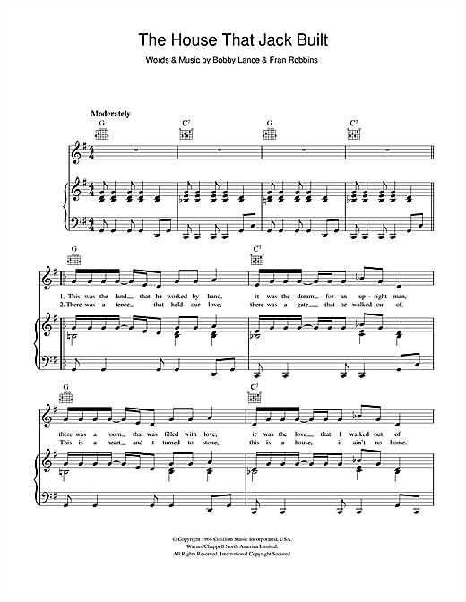 Aretha Franklin The House That Jack Built sheet music notes and chords. Download Printable PDF.