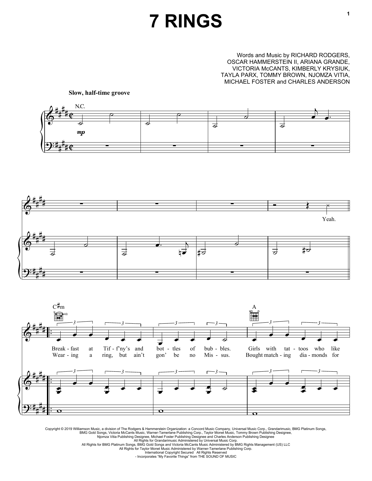 7 Years Piano Pdf ariana grande '7 rings' sheet music notes, chords | download printable  piano, vocal & guitar (right-hand melody) - sku: 408704