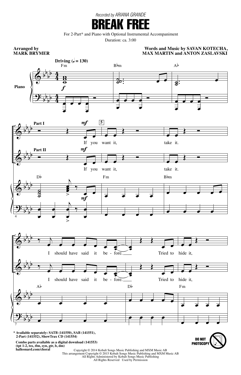 Ariana Grande Break Free (feat. Zedd) (arr. Mark Brymer) sheet music notes and chords. Download Printable PDF.