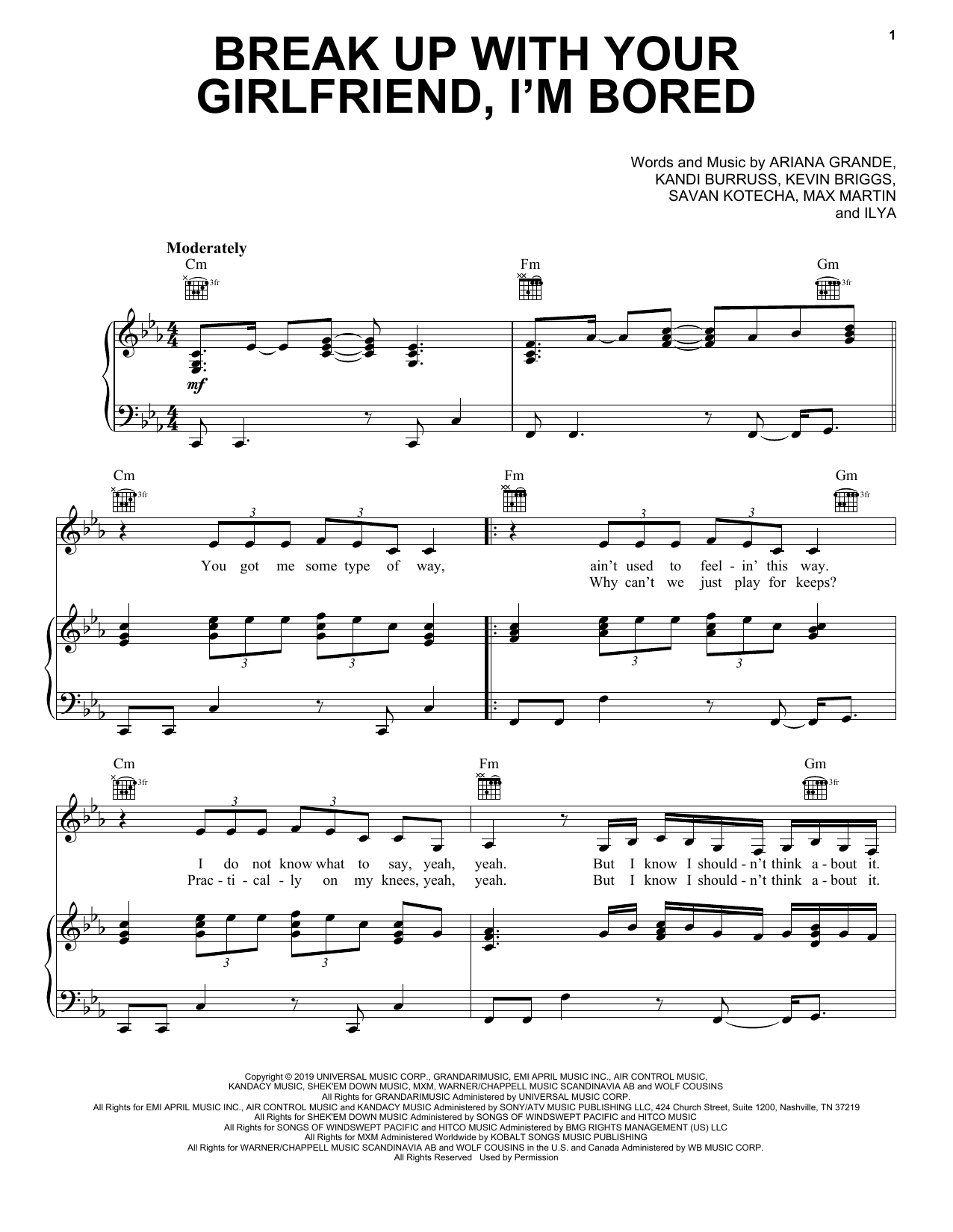 Ariana Grande break up with your girlfriend, i'm bored sheet music notes and chords