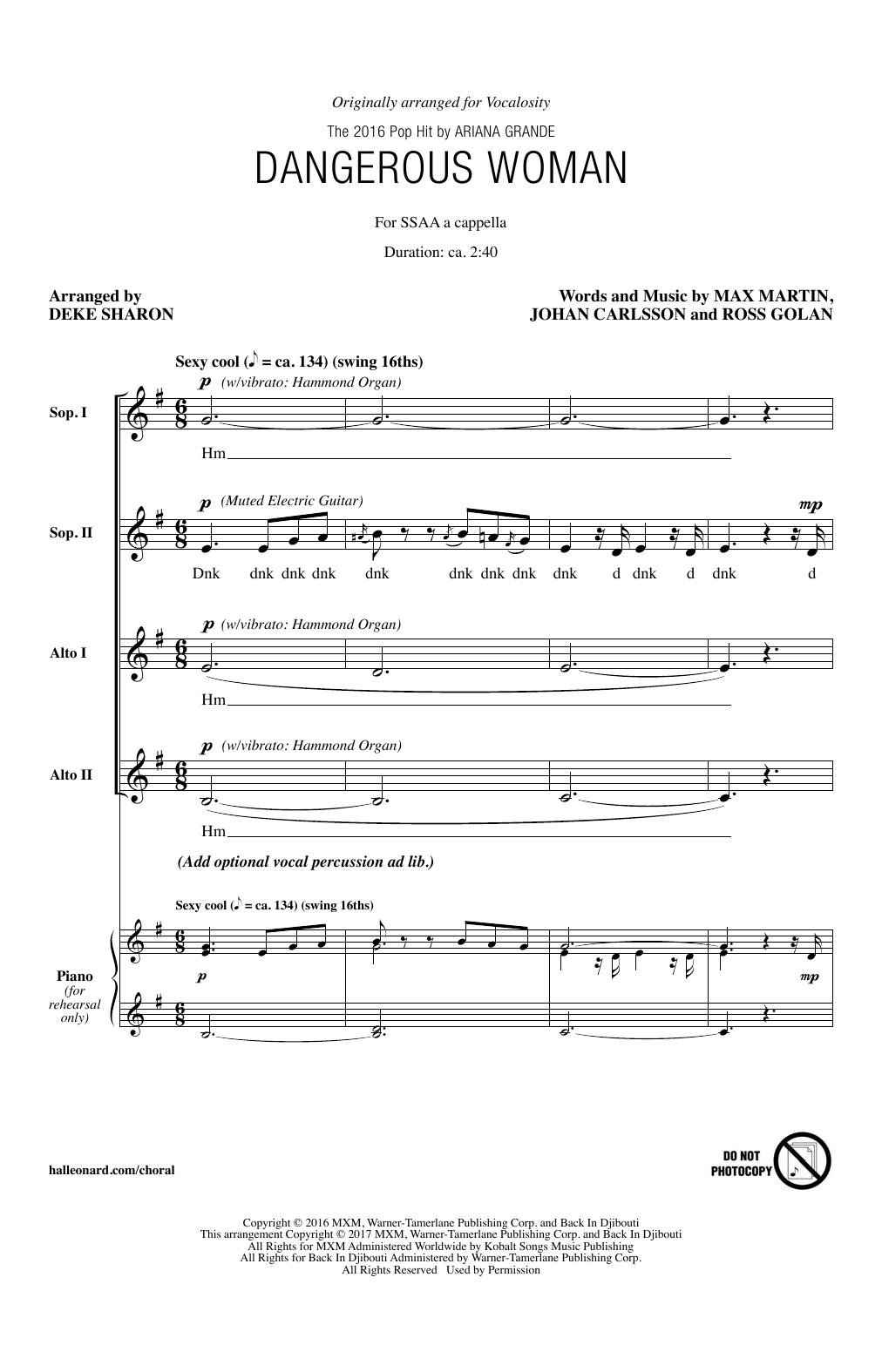 Ariana Grande Dangerous Woman (arr. Deke Sharon) sheet music notes and chords. Download Printable PDF.