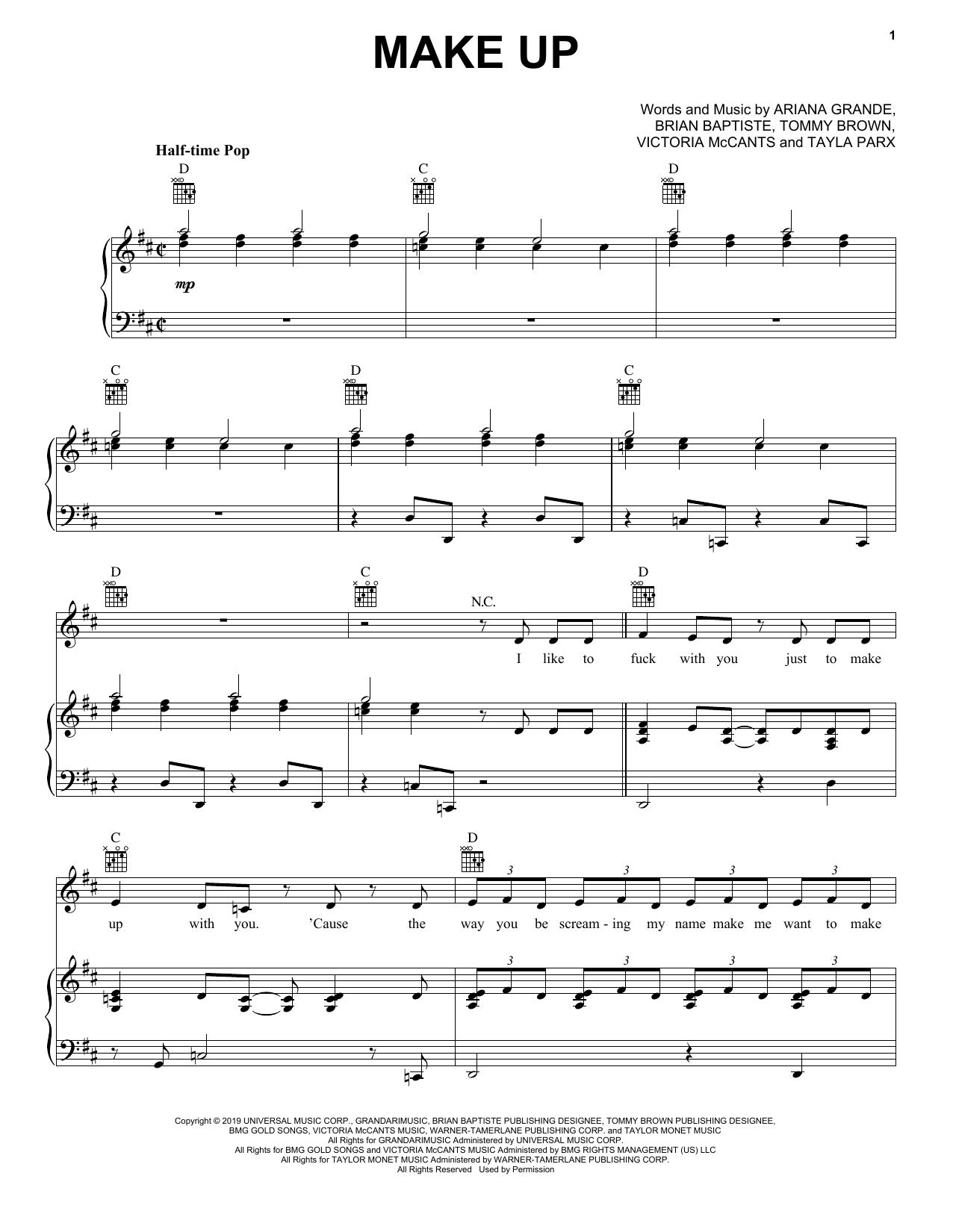 Ariana Grande Make Up sheet music notes and chords
