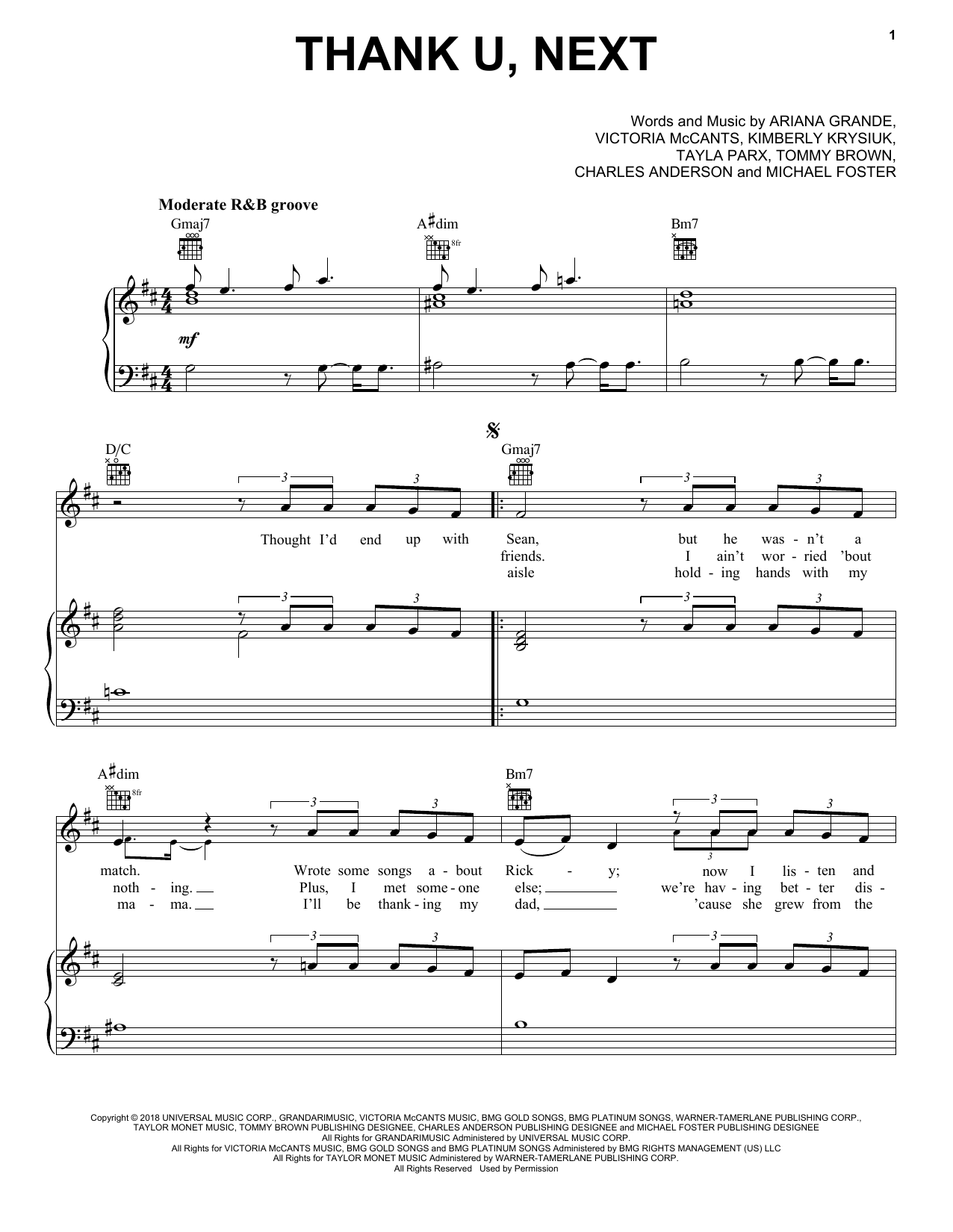 Ariana Grande thank u, next sheet music notes and chords
