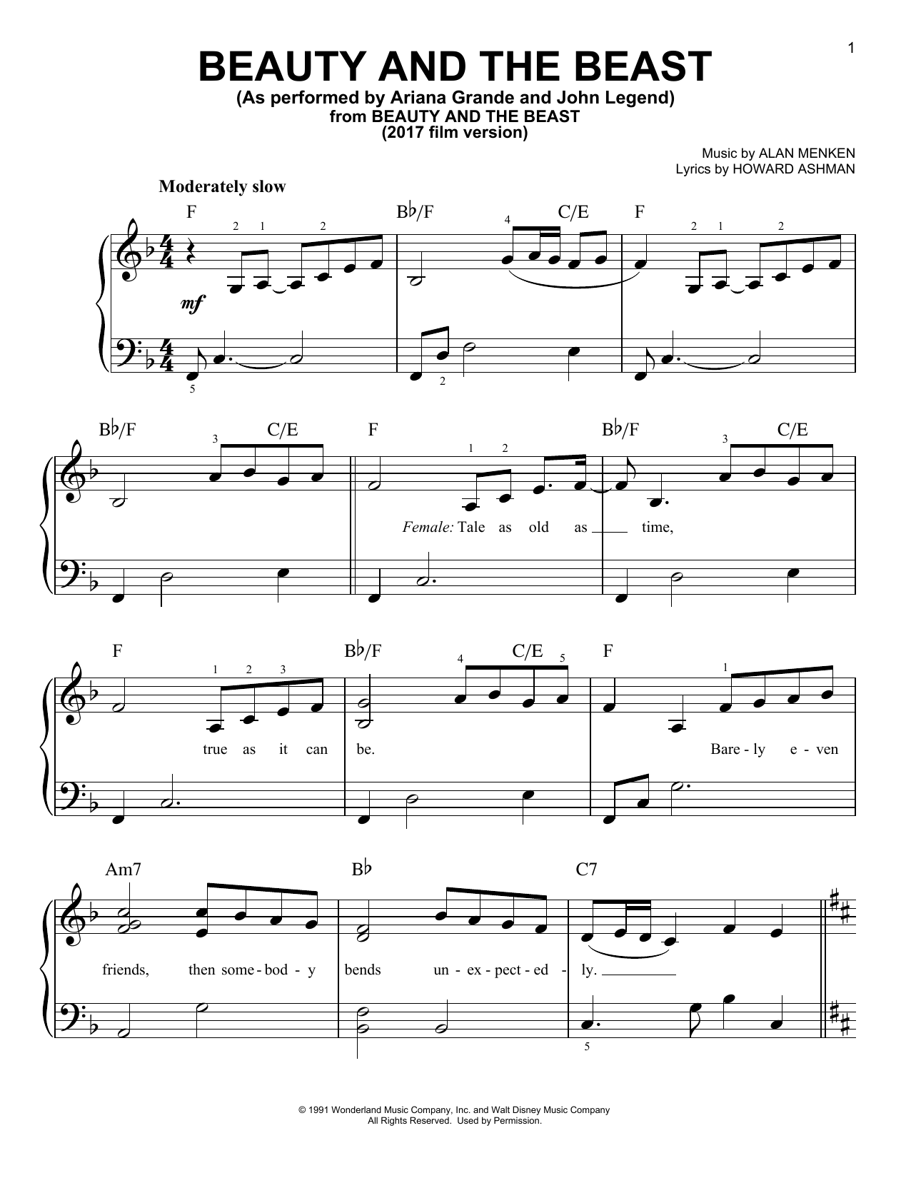 beauty and the beast free piano sheet pdf