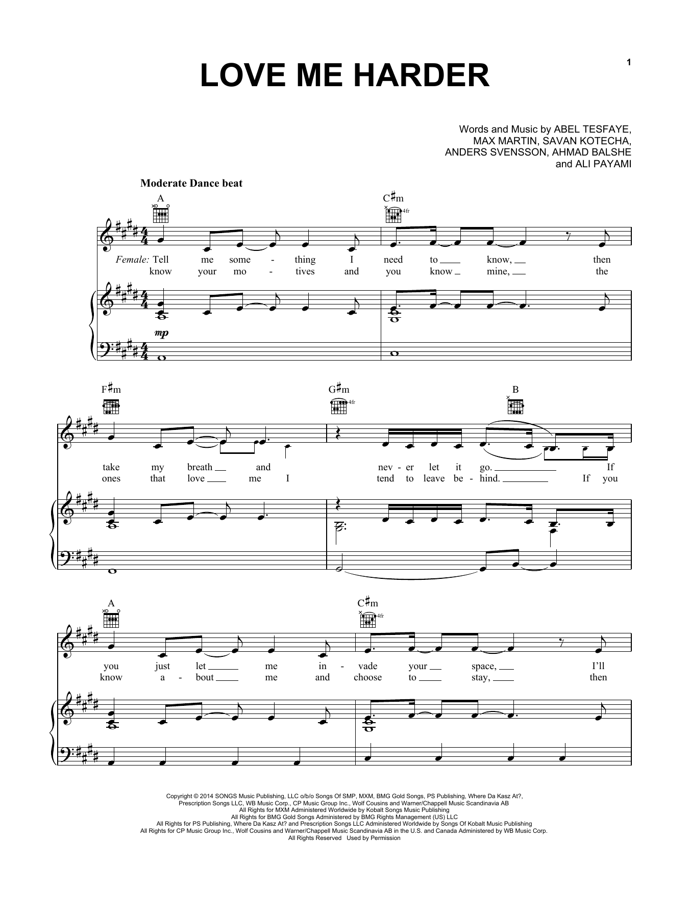 Ariana Grande & The Weeknd Love Me Harder sheet music notes and chords. Download Printable PDF.