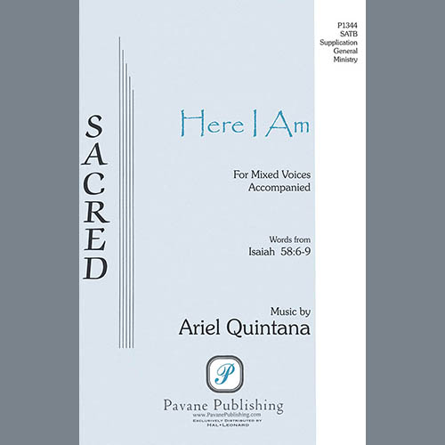 Easily Download Ariel Quintana Printable PDF piano music notes, guitar tabs for SATB Choir. Transpose or transcribe this score in no time - Learn how to play song progression.
