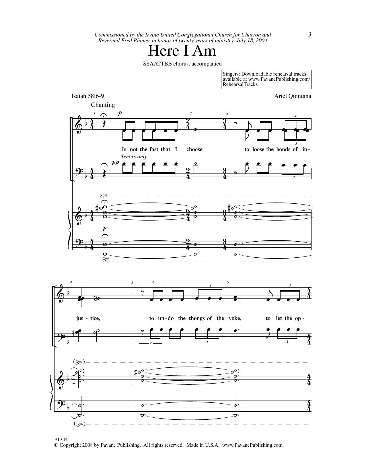 Ariel Quintana Here I Am sheet music notes and chords. Download Printable PDF.