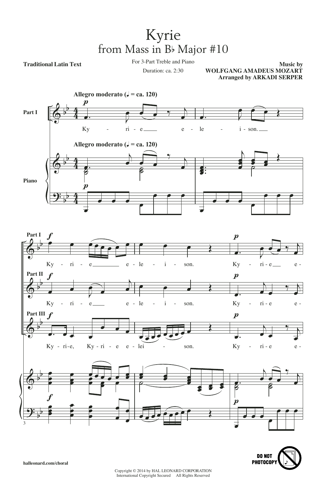 Arkadi Serper Kyrie (From The Mass In B-Flat Major #10) sheet music notes and chords. Download Printable PDF.