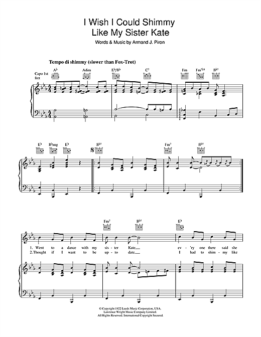 Armand Piron I Wish I Could Shimmy Like My Sister Kate sheet music notes and chords. Download Printable PDF.