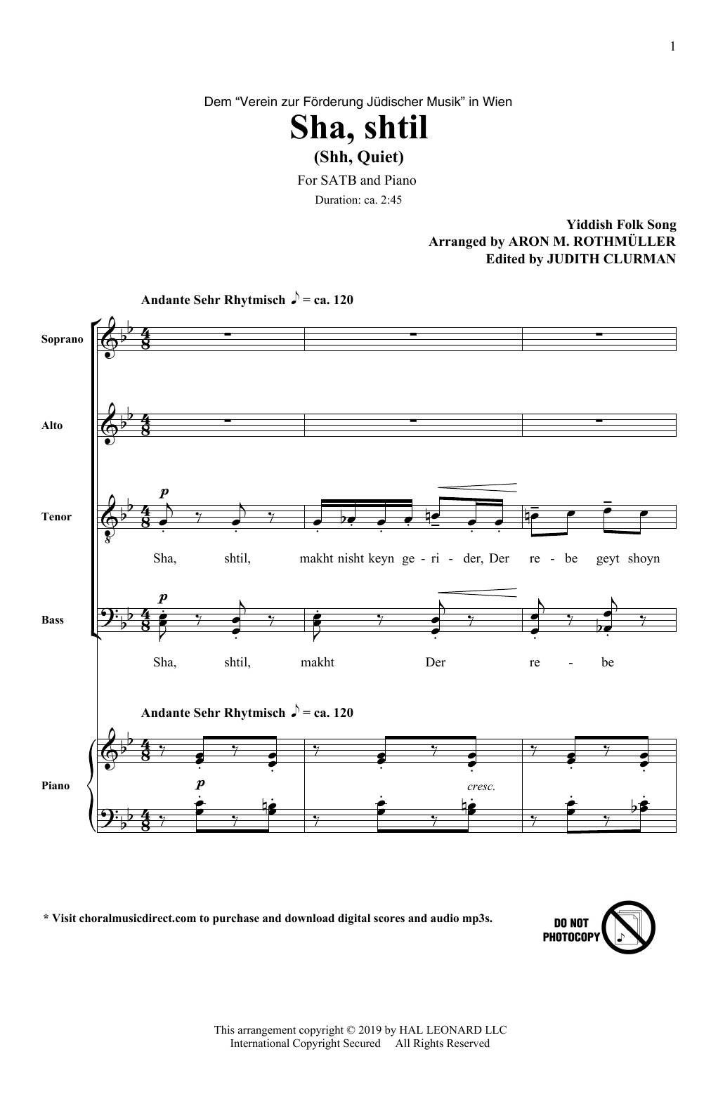 Aron M. Rothmuller Sha, Shtil sheet music notes and chords
