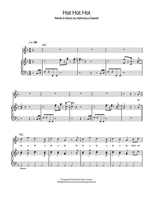 Arrow Hot Hot Hot sheet music notes and chords. Download Printable PDF.