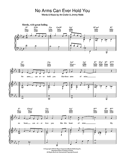 Art Crafer No Arms Can Ever Hold You sheet music notes and chords. Download Printable PDF.