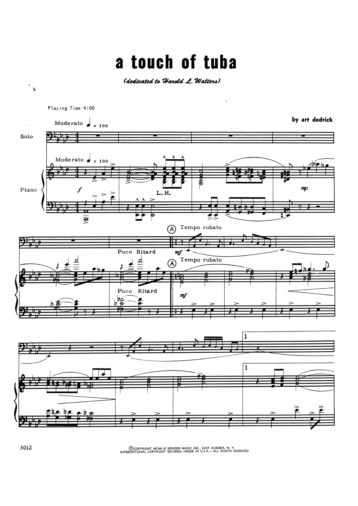 Art Dedrick A Touch Of Tuba - Piano Accompaniment sheet music notes and chords. Download Printable PDF.
